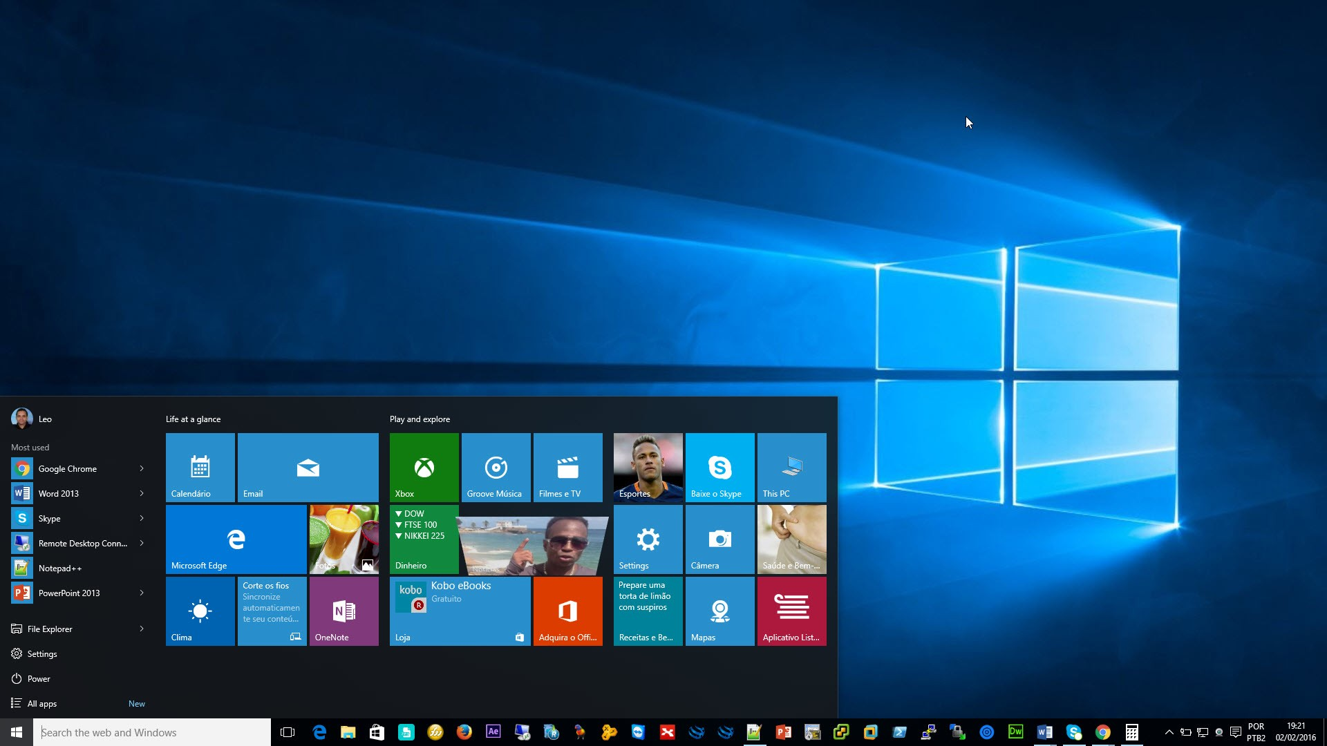 Menu Iniciar no Windows 10