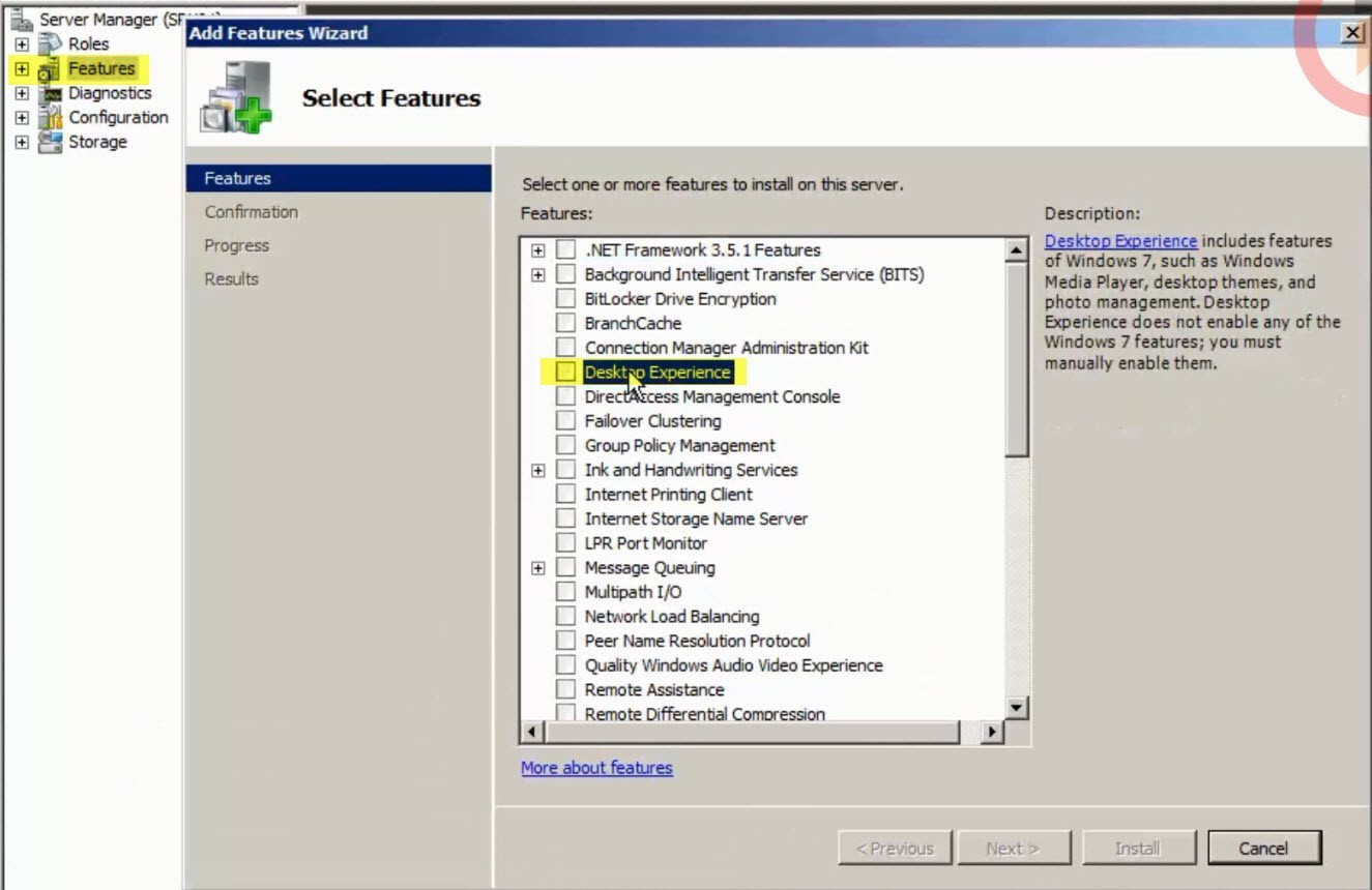 desktop experience windows server 2008 R2